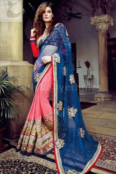Pink and blue heavy designer wedding wear saree