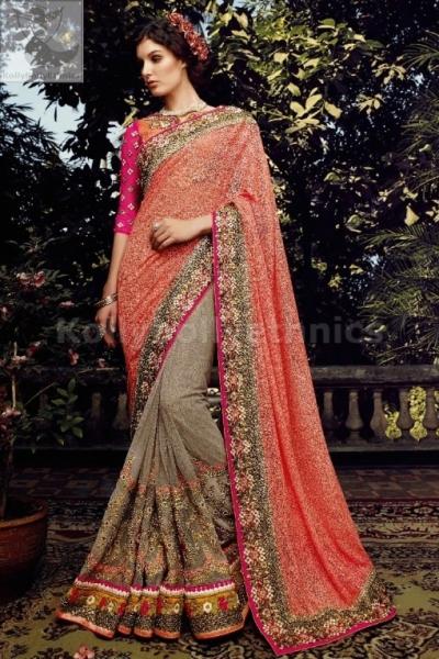 Peach and gray colour designer wedding saree
