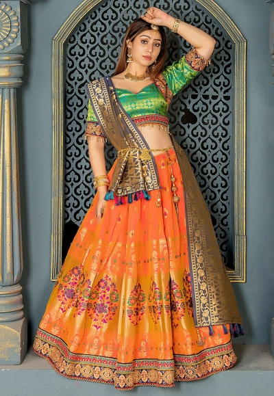 Orange jacquard embroidered circular lehenga choli 11214