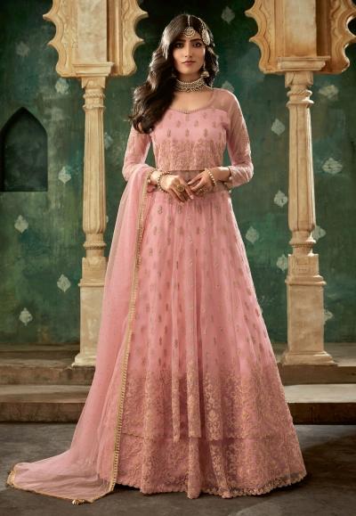 Pink net embroidered indo western lehenga choli 78002