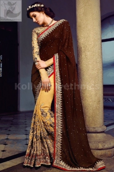 Brown and cream colour heavy wedding wear saree
