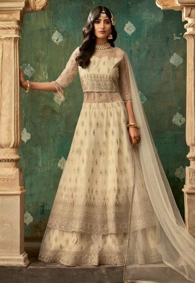 Beige net embroidered indo western lehenga choli 78004