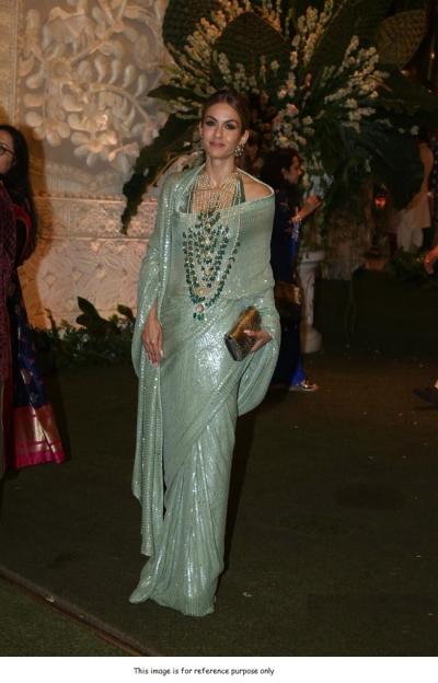 Bollywood Manish malhotra inspired pista green sequins saree