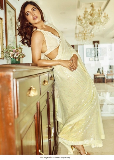 Bollywood Manish malhotra inspired Off white sequins saree