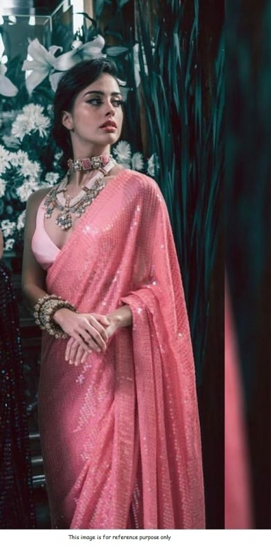 Bollywood Manish malhotra inspired Rose pink sequins saree