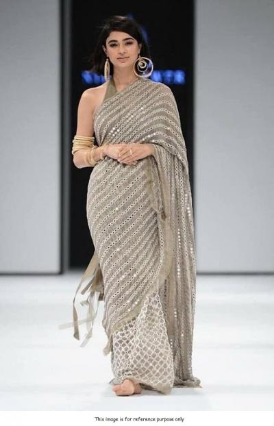 Bollywood model grey georgette saree