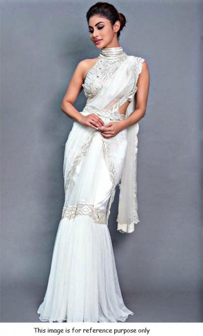 Bollywood Mouni roy white net Ready to wear saree