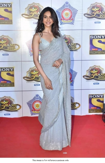 Bollywood Rakul Preet singh blue georgette sequins saree