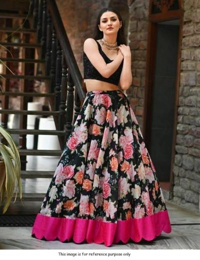 Bollywood Model black floral banglori silk sequins lehenga