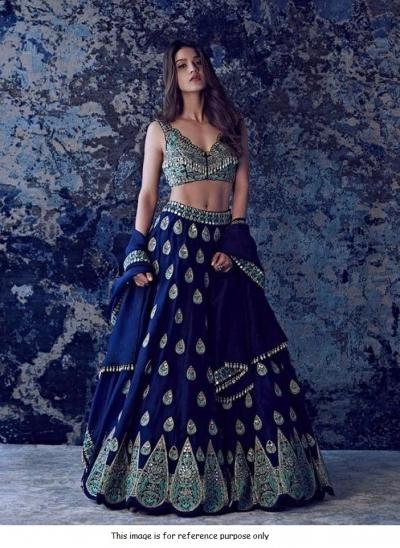Bollywood model blue tafeta silk mirror lehenga choli