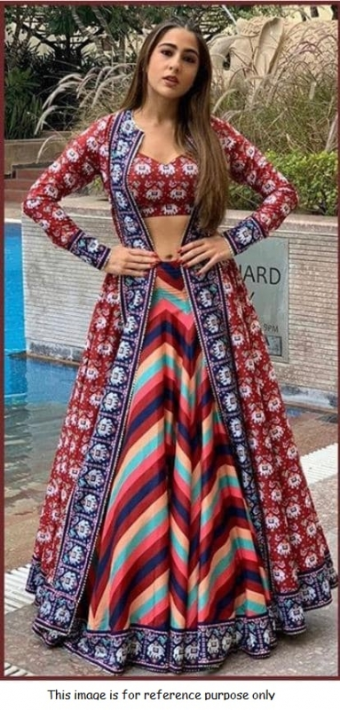 Bollywood Sara Ali khan inspired multi color print lehenga