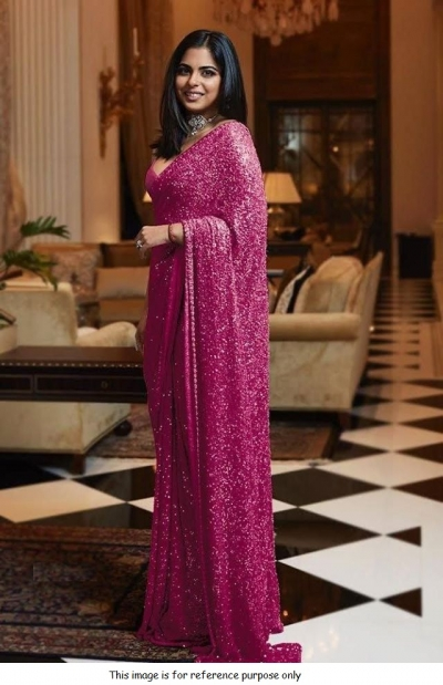 Bollywood Sabyasachi Inspired Isha ambani pink sequins saree