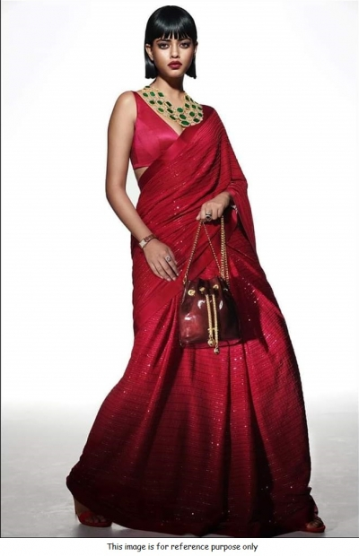 Bollywood Sabyasachi Inspired maroon georgette sequin saree