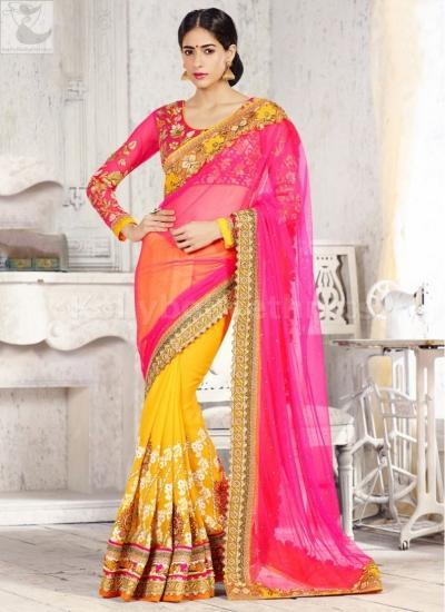 Pink and yellow designer Wedding Saree
