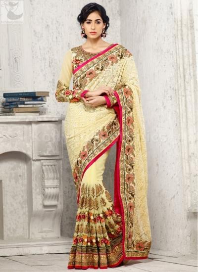 Cream designer Wedding Saree