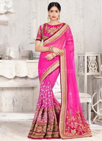Pink designer Wedding Saree