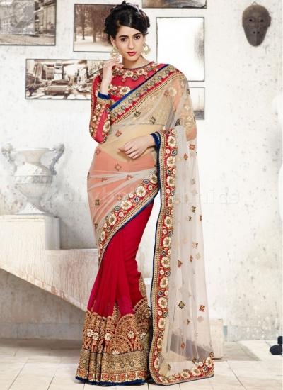 Off white and marron colour Wedding Saree