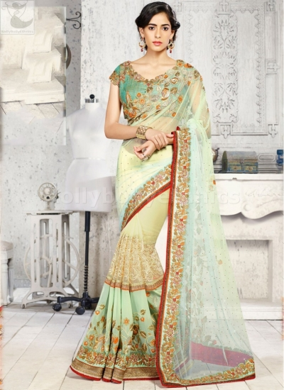 LIght green designer Wedding Saree