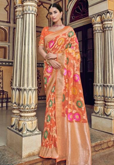 Orange silk saree with blouse 3306