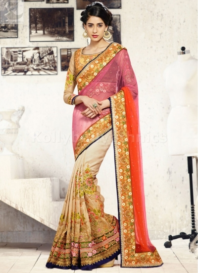 Cream pink and orange Wedding Saree