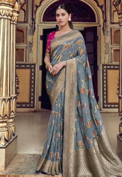 Gray silk party wear saree 3314