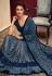 Blue lycra saree with blouse 11318