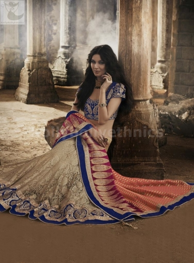 Multi colour lehenga style Wedding Wear Saree