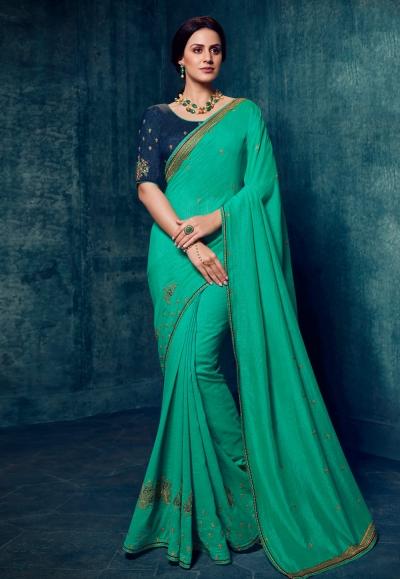 Shaded green silk festival wear saree 2179