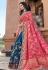 Pink silk embroidered half and half saree 3801