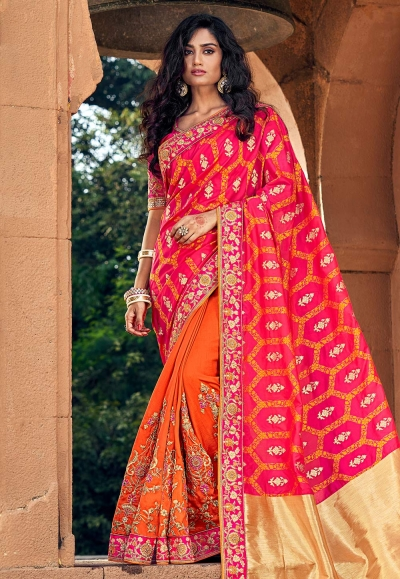 Pink silk embroidered festival wear saree 3802