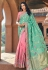 Sea green silk embroidered half and half saree 3803