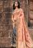 Peach silk embroidered half and half saree 3804
