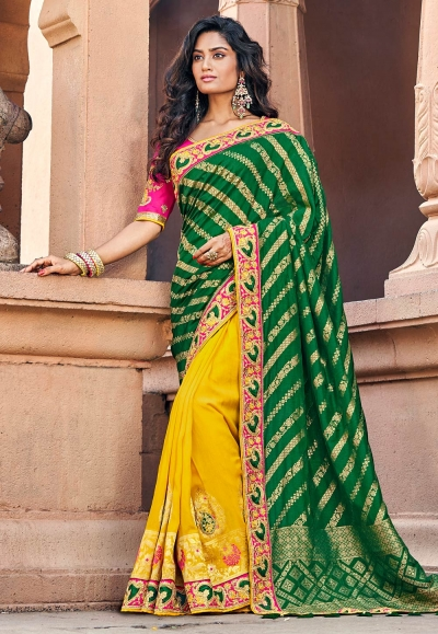 Green silk embroidered half and half saree 3805