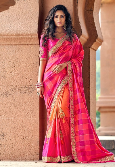 Pink silk embroidered saree with blouse 3809