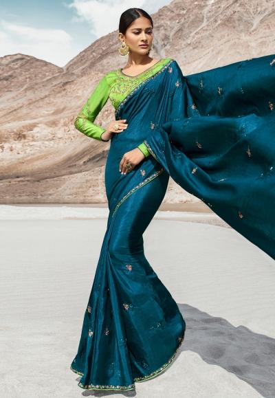 Teal blue silk party wear saree 80001