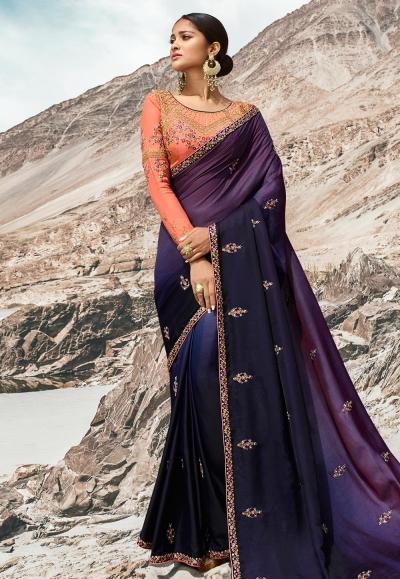 Navy blue barfi silk party wear saree 80005