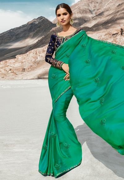 Green barfi silk festival wear saree 80006
