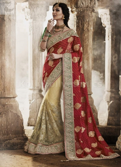 Red and yellow georgette Wedding Wear Saree
