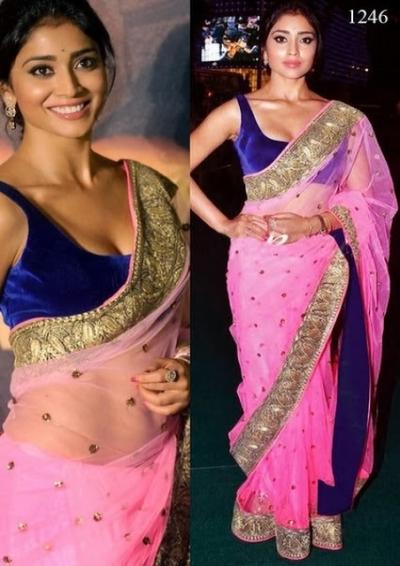 Shriya Saran pink saree