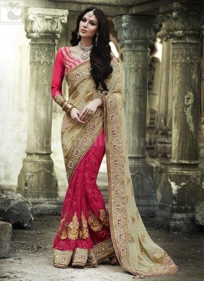 Beige and dark pink Wedding Wear Saree