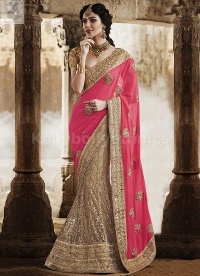 Beige and pink lehenga style Wedding Wear Saree