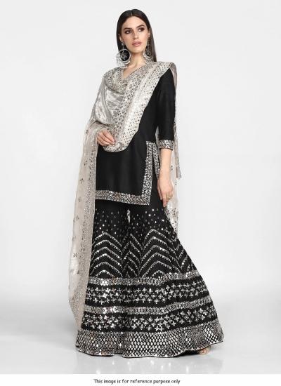 Bollywood Inspired silk Black wedding sharara set