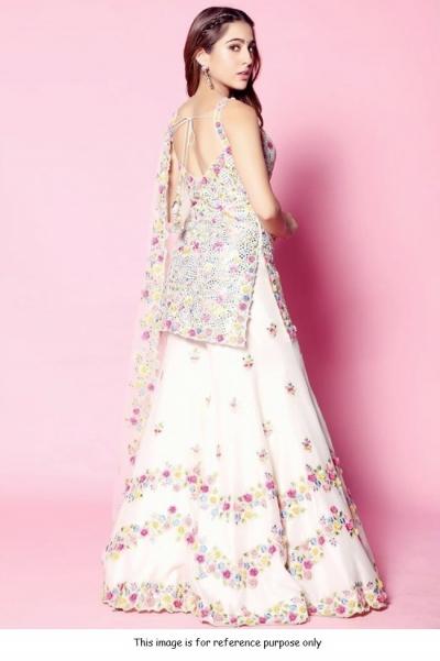 Bollywood Sara AliKhan Inspired silk white wedding sharara set