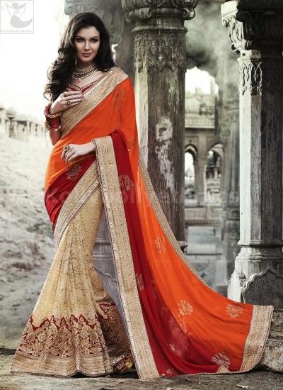 Beige and orange Wedding Wear Saree
