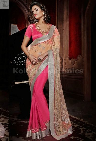 Pink and beige shaded Party Wear Saree