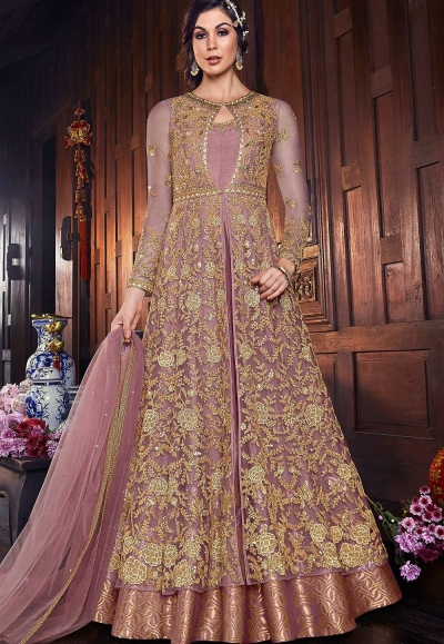 mauve net silk embroidered floor length anarkali suit 6107c