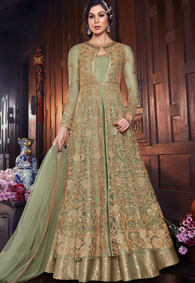 green net silk embroidered floor length anarkali suit 6107b