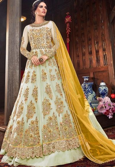 light grey net embroidered lehenga style anarkali suit 6103b