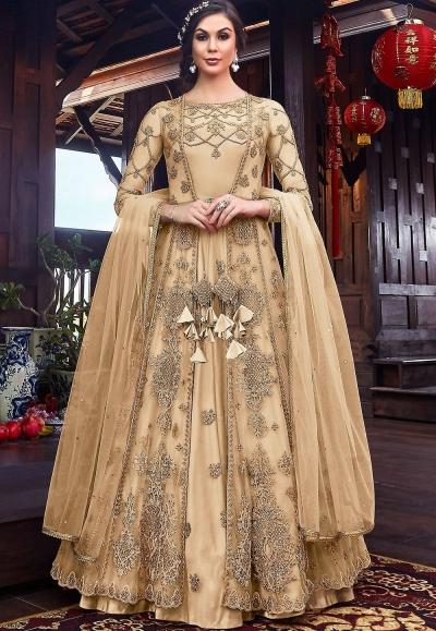 cream net embroidered floor length jacket style anarkali suit 6102c