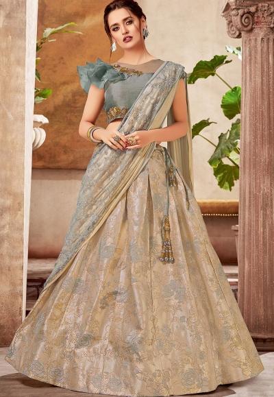 grey shade jacquard silk embroidered lehenga choli 5738
